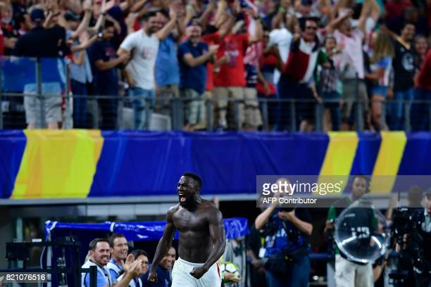 United States's forward Jozy Altidore celebrates after scoring a goal during second half of the Costa Rica vs United States CONCACAF Gold Cup semi...