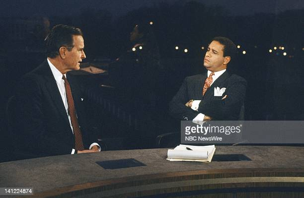 TODAY 'United States–Soviet Union Summit 1987' Pictured US Vice President George Bush NBC News' Bryant Gumbel during the USSoviet Union Summit on...