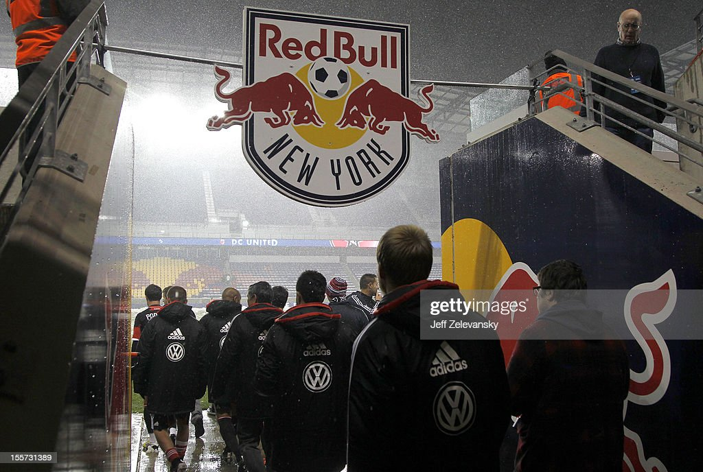 D.C. United take to the field to salute fans after their Eastern Conference Semifinal match against the New York Red Bulls was postponed due to weather conditions at Red Bull Arena on November 7, 2012 in Harrison, New Jersey.