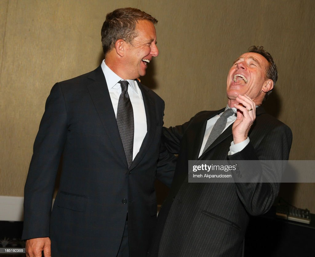 United Talent Agency CEO Jeremy Zimmer (L) and actor <a gi-track='captionPersonalityLinkClicked' href=/galleries/search?phrase=Bryan+Cranston&family=editorial&specificpeople=217768 ng-click='$event.stopPropagation()'>Bryan Cranston</a> attend CoachArt's 9th Annual 'Gala Of Champions' at The Beverly Hilton Hotel on October 17, 2013 in Beverly Hills, California.