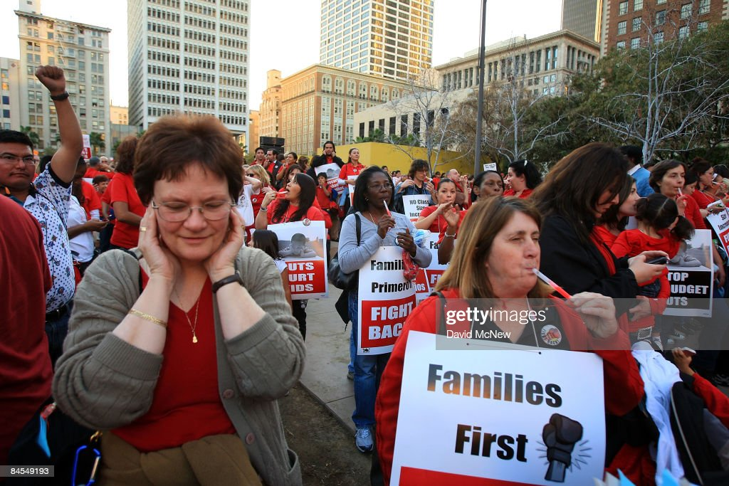United Teachers Los Angeles and supporters blow whistles in protest of state and local budget cuts on January 29 2009 in Los Angeles California...