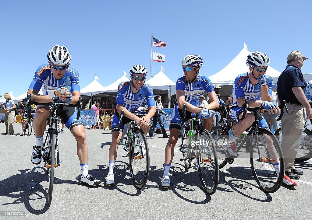 UnitedHealthCare team wait for the start of Stage 3 of the Tour of California on May 14, 2013 in Palmdale, California.