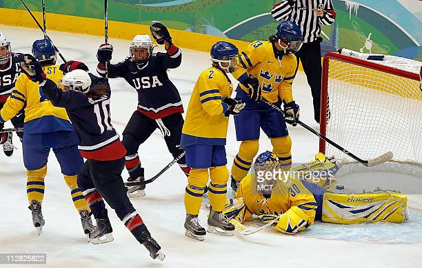 Uniteds States Meghan Duggan celebrates after scoring against Sweden in Women's Ice Hockey game during the 2010 Winter Olympics in Vancouver British...
