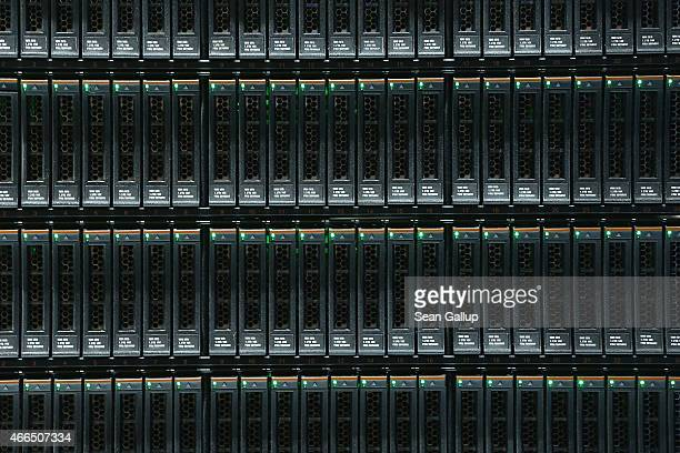 Units for storing digital data lie plugged into an IBM System Storage DS8870 mainframe at the 2015 CeBIT technology trade fair on March 16 2015 in...