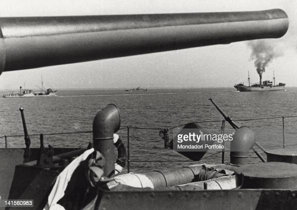 Units of a Romanian cargo convoy with escort unit sailing the Black Sea March 1943