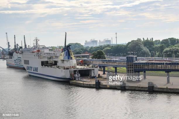 Unity Line ferries sitting at the Swinoujscie ferry terminal in Swinoujscie port is seen on 30 July 2017 in Swinoujscie Poland