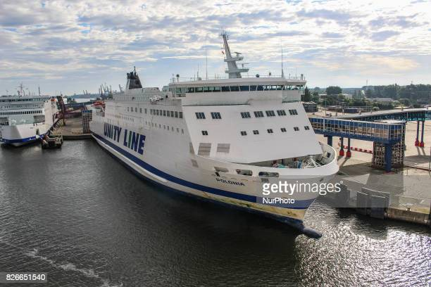 Unity Line Polonia ferry sitting at the Swinoujscie ferry terminal in Swinoujscie port is seen on 30 July 2017 in Swinoujscie Poland