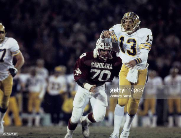 Univeristy of Pittsburgh Panthers quarterback Dan Marino in a 37 to 9 loss to the Univeristy of South Carolina Gamecocks played on November 29 1980...