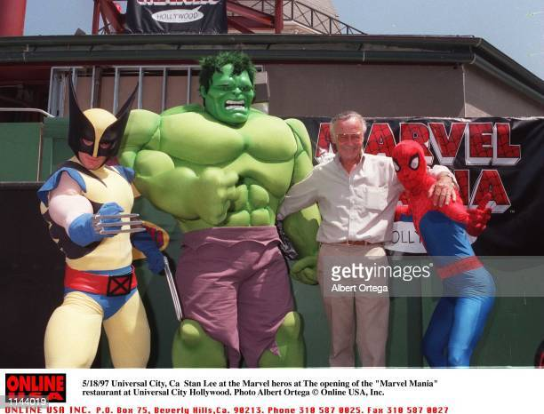 Universal City Ca Stan Lee and the Marvel heros at the 'Marvel Mania' restaurant at Universal City Hollywood