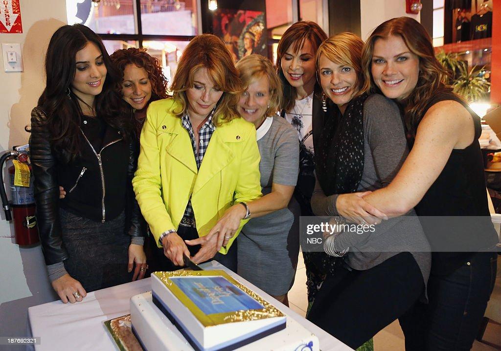 LIVES -- 'Universal Fan Event' -- Pictured: (l-r) Camila Banus, Meredith Scott Lynn, Deidre Hall, Mary Beth Evans, Lauren Koslow, Arianne Zucker, Alison Sweeney at the Universal City Fan Event on November 9, 2013 --