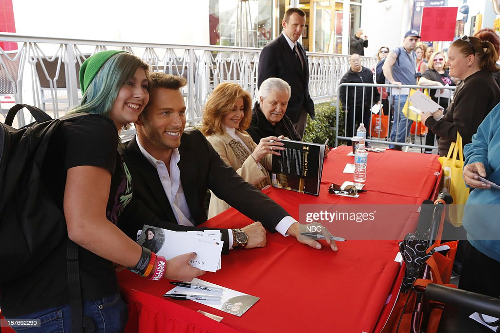 LIVES -- 'Universal Fan Event' -- Pictured: (l-r) Eric Martsolf, Suzanne Rogers, John Aniston at the Universal City Fan Event on November 9, 2013 --