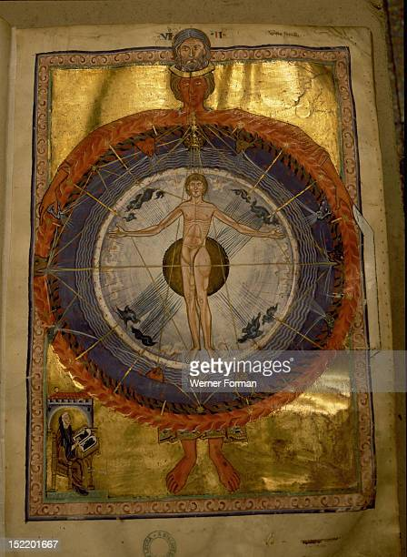 Universal Man illumination from Hildegard von Bingens Liber Divinorum Operum or Book of Divine Works in which her visions are interpreted through...