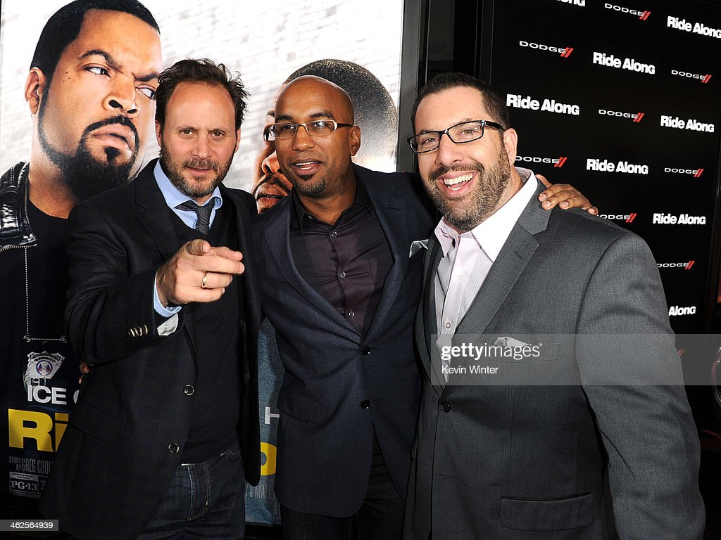 Universal Music Group President of Film Music Publishing Mike Knobloch, director Tim Story and Composer Christopher Lennertz attends the Premiere Of Universal Pictures' 'Ride Along' at TCL Chinese Theatre on January 13, 2014 in Hollywood, California.