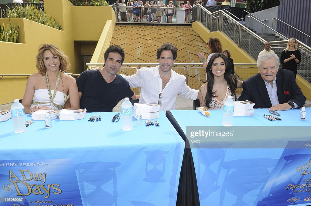 LIVES -- 'Universal Orlando Resort Fan Event' -- Pictured: (l-r) <a gi-track='captionPersonalityLinkClicked' href=/galleries/search?phrase=Arianne+Zucker&family=editorial&specificpeople=2115698 ng-click='$event.stopPropagation()'>Arianne Zucker</a>, <a gi-track='captionPersonalityLinkClicked' href=/galleries/search?phrase=Galen+Gering&family=editorial&specificpeople=595504 ng-click='$event.stopPropagation()'>Galen Gering</a>, <a gi-track='captionPersonalityLinkClicked' href=/galleries/search?phrase=Shawn+Christian&family=editorial&specificpeople=984129 ng-click='$event.stopPropagation()'>Shawn Christian</a>, Camila Banus, <a gi-track='captionPersonalityLinkClicked' href=/galleries/search?phrase=John+Aniston&family=editorial&specificpeople=621637 ng-click='$event.stopPropagation()'>John Aniston</a> --