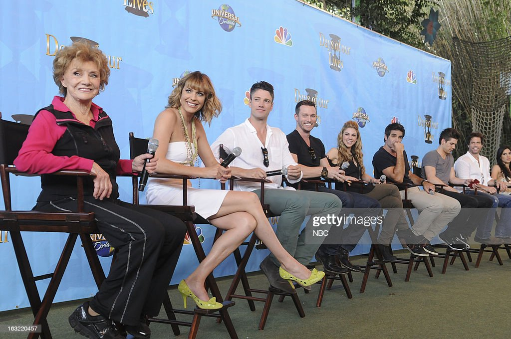 LIVES -- 'Universal Orlando Resort Fan Event' -- Pictured: (l-r) Peggy McCay as Caroline Brady, Arianne Zucker as Nicole Walker, James Scott as EJ Wells, <a gi-track='captionPersonalityLinkClicked' href=/galleries/search?phrase=Eric+Martsolf&family=editorial&specificpeople=675242 ng-click='$event.stopPropagation()'>Eric Martsolf</a> as Brady, <a gi-track='captionPersonalityLinkClicked' href=/galleries/search?phrase=Tamara+Braun&family=editorial&specificpeople=171925 ng-click='$event.stopPropagation()'>Tamara Braun</a> as Taylor Walker, <a gi-track='captionPersonalityLinkClicked' href=/galleries/search?phrase=Galen+Gering&family=editorial&specificpeople=595504 ng-click='$event.stopPropagation()'>Galen Gering</a> as Rafael 'Rafe' Hernandez, Casey Jon Deidrick as Chad Peterson-Woods, <a gi-track='captionPersonalityLinkClicked' href=/galleries/search?phrase=Shawn+Christian&family=editorial&specificpeople=984129 ng-click='$event.stopPropagation()'>Shawn Christian</a> as Dr. Daniel Jonas, Camila Banus as Gabi Hernandez --