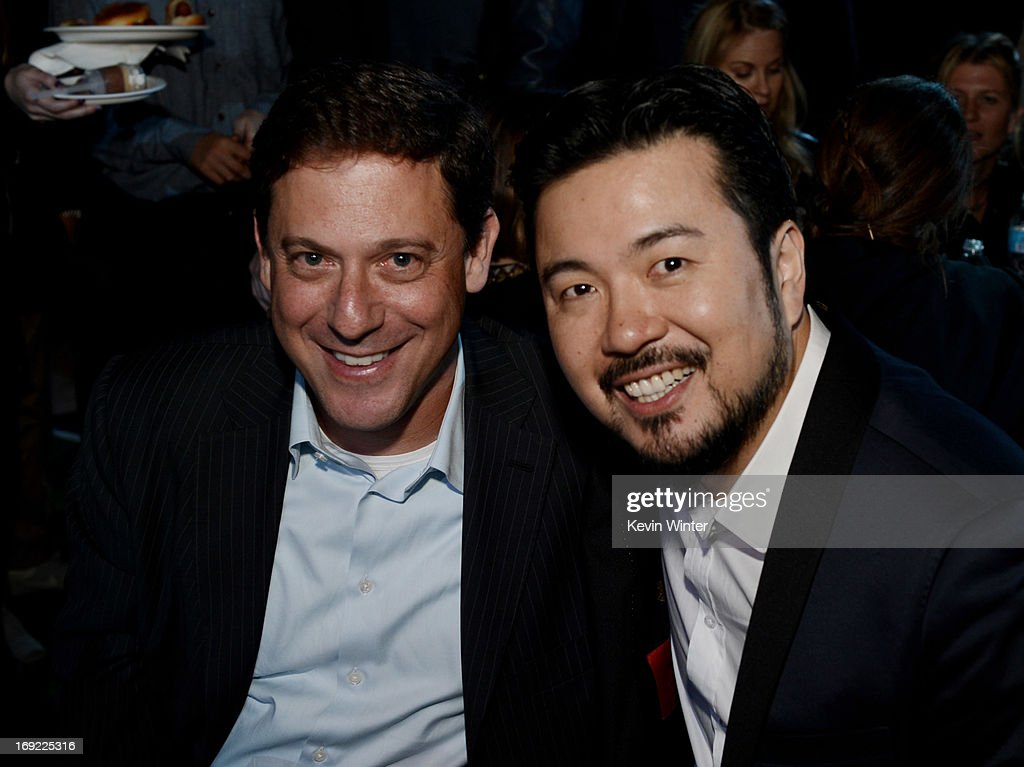 Universal Pictures Chairman Adam Fogelson (L) and director/executive producer Justin Lin pose at the after party for the premiere of Universal Pictures' 'Fast & Furious 6' at the Gibson Amphitheatre on May 21, 2013 in Universal City, California.