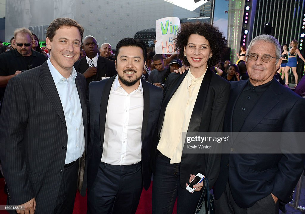 Universal Pictures Chairman Adam Fogelson, director Justin Lin, Universal Pictures Co- Chairman Donna Langley and President and Chief Operating Officer of Universal Studios Ron Meyer arrive at the premiere of Universal Pictures' 'Fast & Furious 6' at Gibson Amphitheatre on May 21, 2013 in Universal City, California.