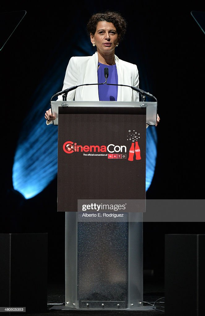 Universal Pictures Chairman Donna Langley speaks onstage at The State of the Industry: Past, Present and Future and Universal Studios Presentation at The Colosseum at Caesars Palace during CinemaCon, the official convention of the National Association of Theatre Owners, on March 25, 2014 in Las Vegas, Nevada.