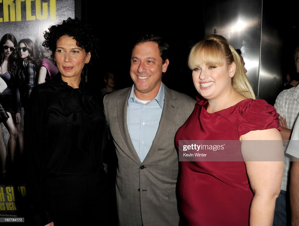 Universal Pictures Co-chairman Donna Langley, Universal Pictures chairman <a gi-track='captionPersonalityLinkClicked' href=/galleries/search?phrase=Adam+Fogelson&family=editorial&specificpeople=834470 ng-click='$event.stopPropagation()'>Adam Fogelson</a>, and actress <a gi-track='captionPersonalityLinkClicked' href=/galleries/search?phrase=Rebel+Wilson&family=editorial&specificpeople=5563104 ng-click='$event.stopPropagation()'>Rebel Wilson</a> arrive at the premiere of Universal Pictures And Gold Circle Films' 'Pitch Perfect' at ArcLight Cinemas on September 24, 2012 in Hollywood, California.