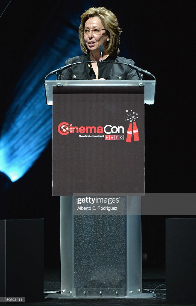 Universal Pictures Distribution President Nikki Rocco speaks onstage at The State of the Industry: Past, Present and Future and Universal Studios Presentation at The Colosseum at Caesars Palace during CinemaCon, the official convention of the National Association of Theatre Owners, on March 25, 2014 in Las Vegas, Nevada.