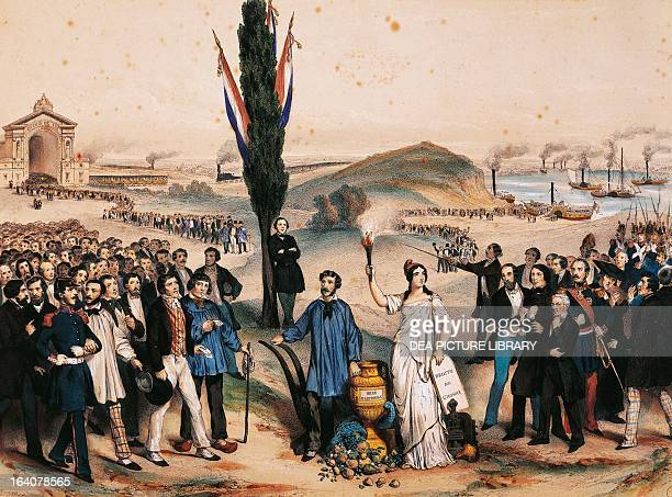 Universal Suffrage allegory dedicated to AlexandreAuguste LedruRollin minister of the interior of the provisional government in 1848 engraving France...