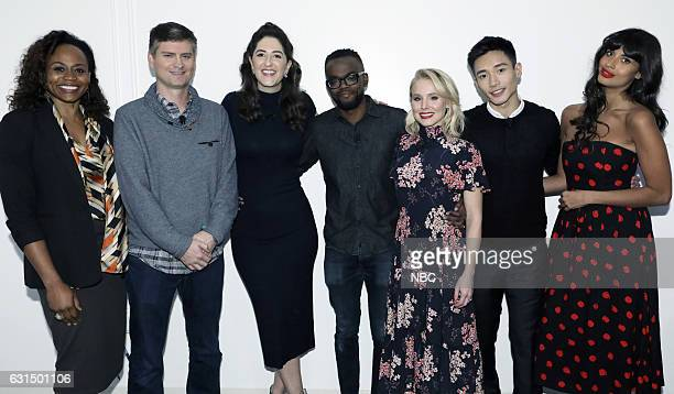 EVENTS 'Universal Television TCA Studio Day' Pictured Pearlena Igbokwe President Universal Television Michael Schur Executive Producer D'Arcy Carden...