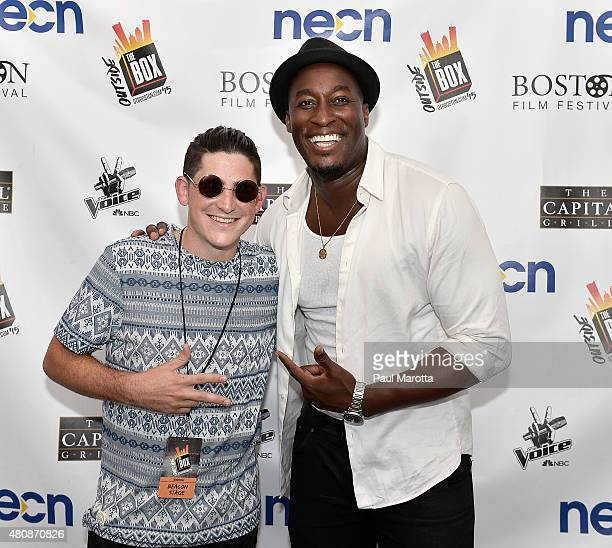 Universal THE VOICE contestants James Massone and Jermaine Paul backstage on Day 2 of Outside The Box Festival Boston at Boston Common on July 15...