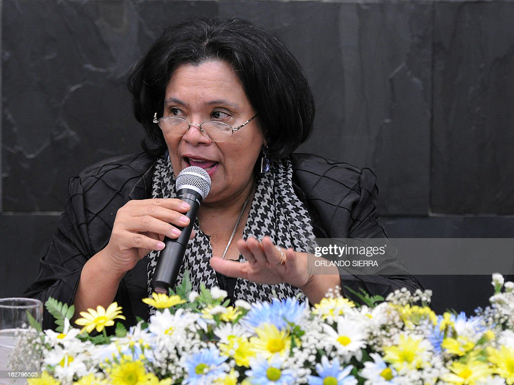 Universidad Nacional Autonoma de Honduras (UNAH) Rector Julietta Castellanos, answers questions during a press conference in Tegucigalpa on February 27, 2013. The UNAH and the Instituto Universitario en Democracia, Paz y Seguridad (IUDPAS), through the Violence Observatory, informed that in 2012 in Honduras, occurred 7,172 homicides, giving a murder rate of 85.5 per 100,000 inhabitants. AFP PHOTO/Orlando SIERRA.