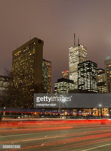 University Avenue in Toronto at night : Stock Photo