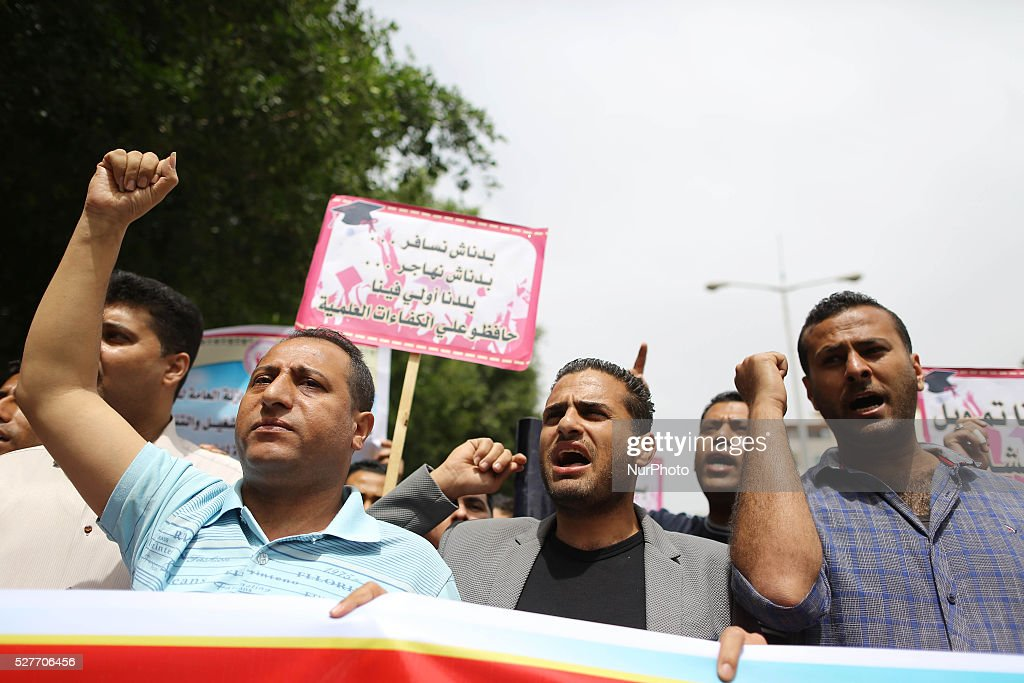 University graduates supporting the Democratic Front for the Liberation of Palestine (DFLP) stage a protest against the unemployment in front of the government building in Gaza City, on May 3, 2016.