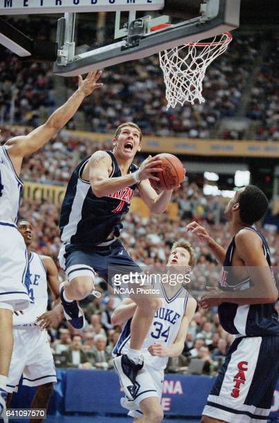 University of Arizona forward Luke Walton and Duke University guard/forward Mike Dunleavy during the NCAA Men's Basketball Final Four Championship...