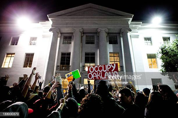 University of California Berkeley students celebrate after again occupying campus as part of an 'open university' strike in solidarity with the...