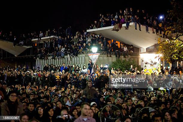 University of California Berkeley students crowd into Sproul Plaza to listen to Professor Robert Reich speaks as part of an 'open university' strike...