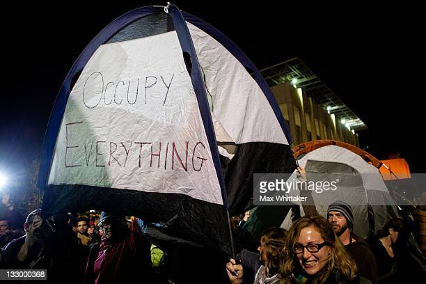 University of California Berkeley students set up tents after a general assembly voted to again occupy campus as part of an 'open university' strike...