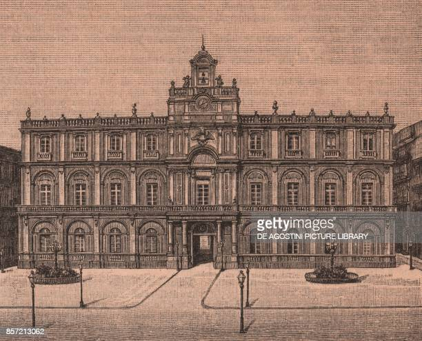 University of Catania Sicily Italy woodcut from Le cento citta d'Italia illustrated monthly supplement of Il Secolo Milan 1891