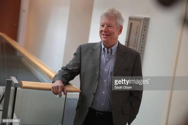 University of Chicago Professor Richard Thaler arrives at his office after learning he had been awarded the 2017 Sveriges Riksbank Prize in Economic...