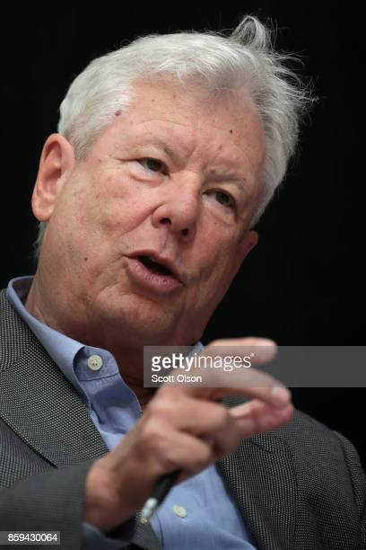 University of Chicago Professor Richard Thaler speaks to guests during a reception at the university after learning he had been awarded the 2017...