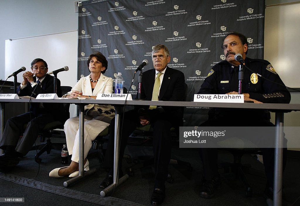 University of Colorado Anschutz Medical Campus Dean of the Graduate School Barry Shur from left, Executive Vice Chancellor Lilly Marks, Chancellor Don Elliman and Police Chief Doug Abraham speak during a news conference July 23, 2012 in Aurora, Colorado. University officials spoke about James Holmes, 24, who is accused of killing 12 people and injuring 58 in a shooting spree Friday during a screening of 'The Dark Knight Rises.' Holmes was a Ph.D. student enrolled in the neuroscience program at the university.