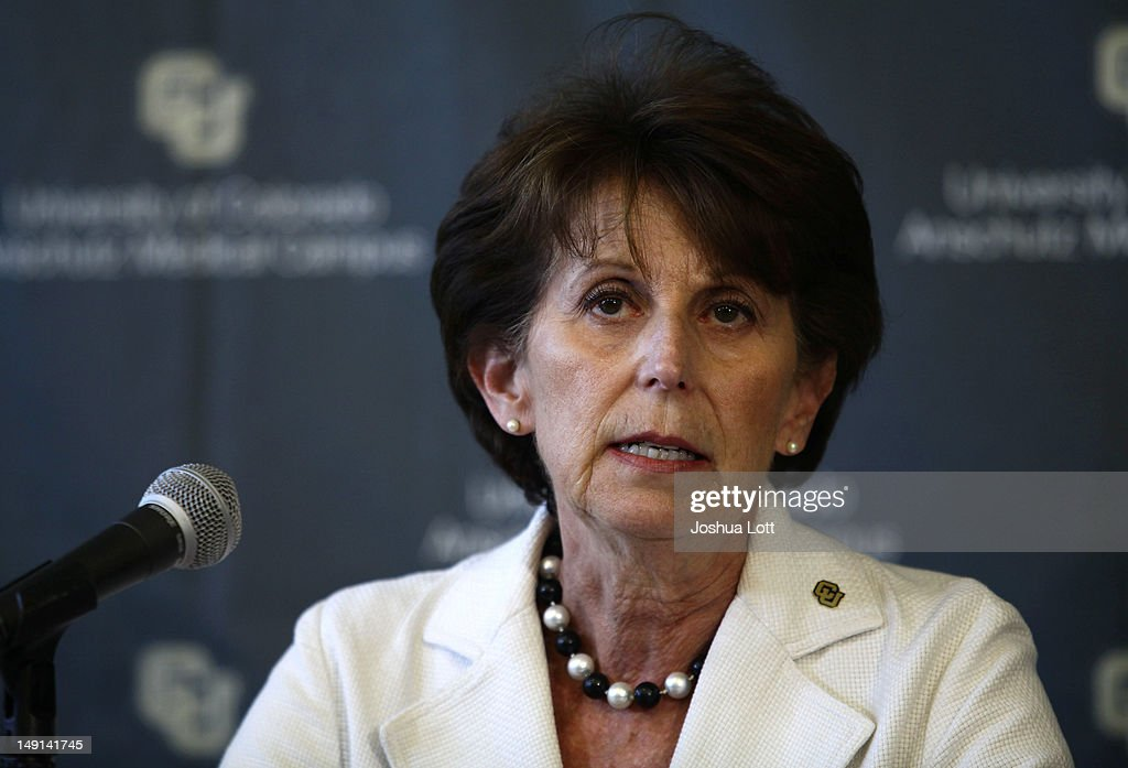 University of Colorado Anschutz Medical Campus Executive Vice Chancellor Lilly Marks speaks during a news conference July 23, 2012 in Aurora, Colorado. University officials spoke about James Holmes, 24, who is accused of killing 12 people and injuring 58 in a shooting spree Friday during a screening of 'The Dark Knight Rises.' Holmes was a Ph.D. student enrolled in the neuroscience program at the university.