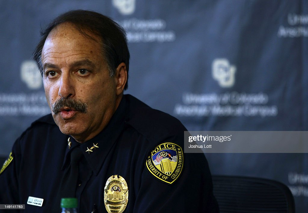 University of Colorado Anschutz Medical Campus Police Chief Doug Abraham speaks during a news conference July 23, 2012 in Aurora, Colorado. University officials spoke about James Holmes, 24, who is accused of killing 12 people and injuring 58 in a shooting spree Friday during a screening of 'The Dark Knight Rises.' Holmes was a Ph.D. student enrolled in the neuroscience program at the university.