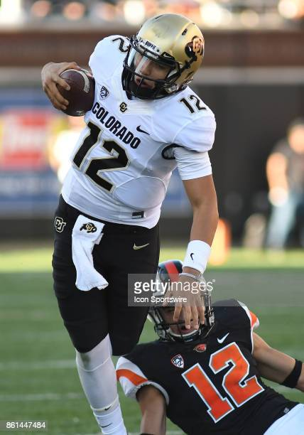 University of Colorado QB Steven Montez scrambles for a gain during a college football game between the Colorado Buffaloes and Oregon State Beavers...