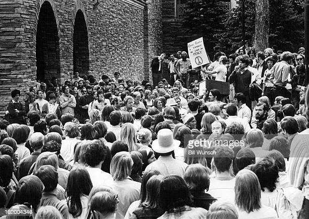 MAY 6 1970 MAY 7 1970 University of Colorado Students Listen to a speaker at Boulder rally Wednesday protesting war and Kent Slayings A crowd of...
