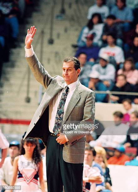 University of Connecticut basketball coach Jim Calhoun works the sidelines during a game Hartford Connecticut 1994