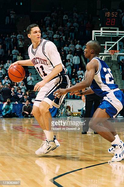 University of Connecticut basketball player Doron Sheffer with the ball during a game Hartford Connecticut 1995
