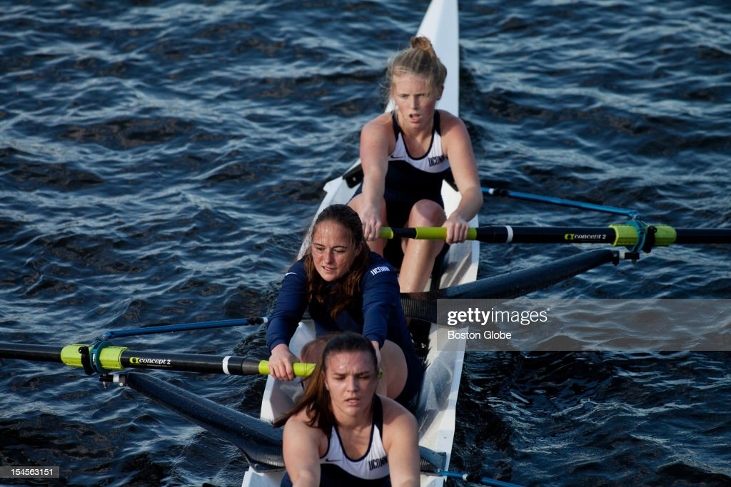 University of Connecticut rowing crew competed in the Championship Women's Eight competition at the Head of the Charles Regatta from the river's side on Sunday morning, October 21, 2012.