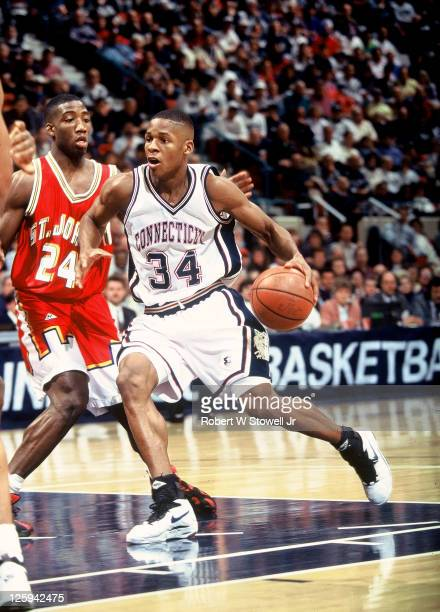 University of Connecticut star Ray Allen takes the ball to the hoop in a game pitting Connecticut against fellow Big East conference team St John's...