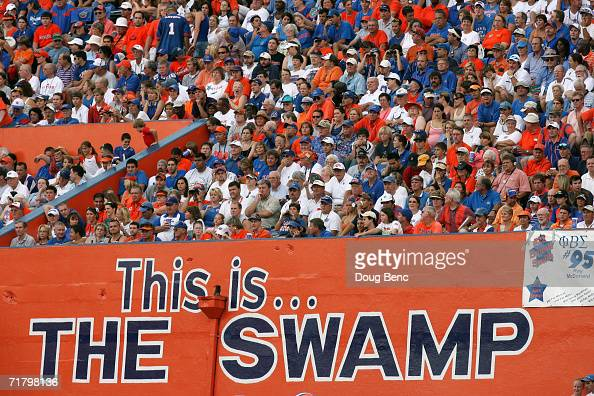 University of Florida Gators fans watch the action during the game against the Southern Miss Golden Eagles at Ben Hill Griffin Stadium on September 2...