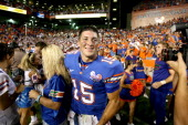 University of Florida's Tim Tebow is all smiles following their 347 win over Southern Mississippi University at Ben Hill Griffin Stadium in Orlando...