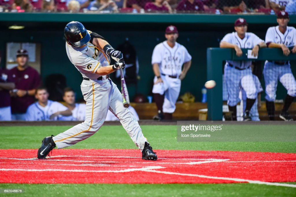 University of Iowa Hawkeyes infielder Mason McCoy (1) makes solid contact during the Houston Regional baseball game between the Iowa Hawkeyes and the Texas A&M Aggies on June 3, 2017 at Schroeder Park in Houston, Texas.