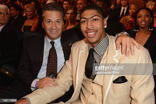 University of Kentucky basketball coach John Calipari and NBA New Orleans Hornets player Anthony Davis in the audience during the 2012 ESPY Awards at...